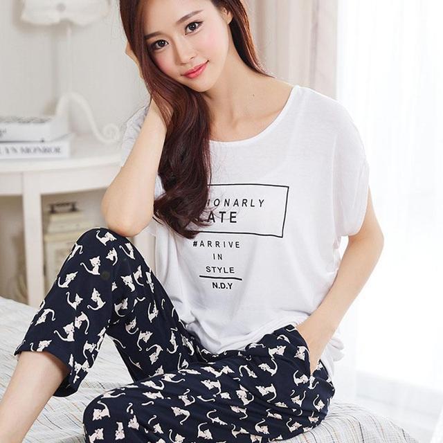 Ropa de dormir de Las Mujeres Pijamas de Verano 2017 Más Tamaño ropa de Dormir de Las Señoras Pijamas Homewear Mujeres Femininos