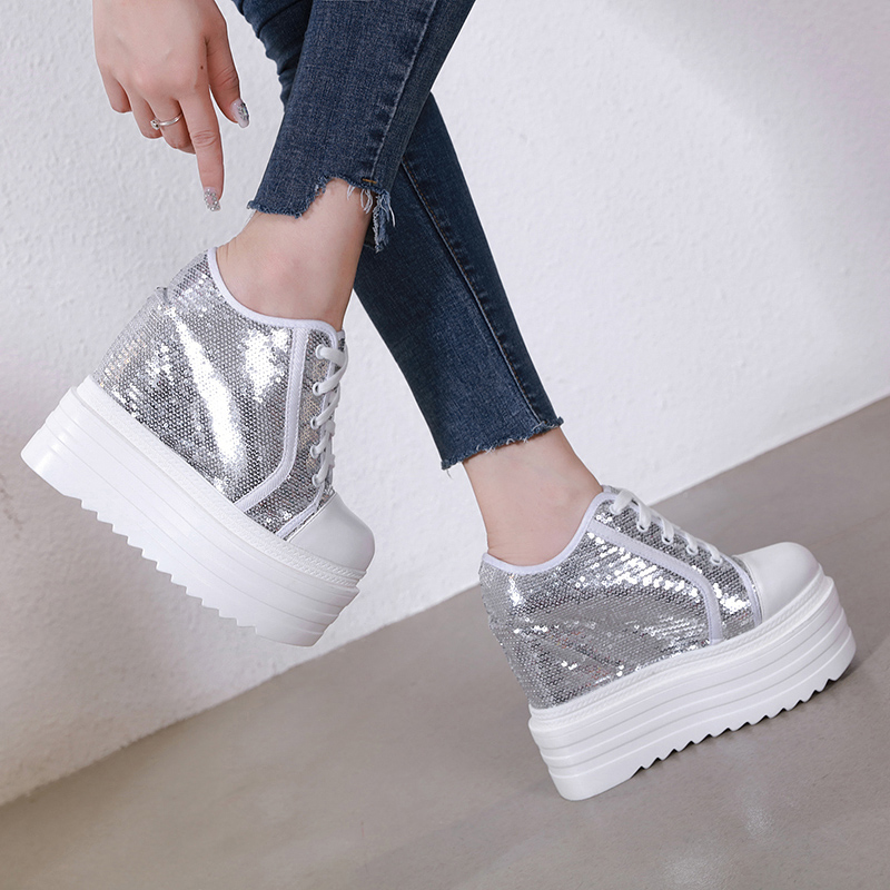 2019 New Autumn White Hidden Wedge Heels Casual Shoes Woman Bling Platform Shoes Elevator 14CM High-heels Walking Sneakers Women
