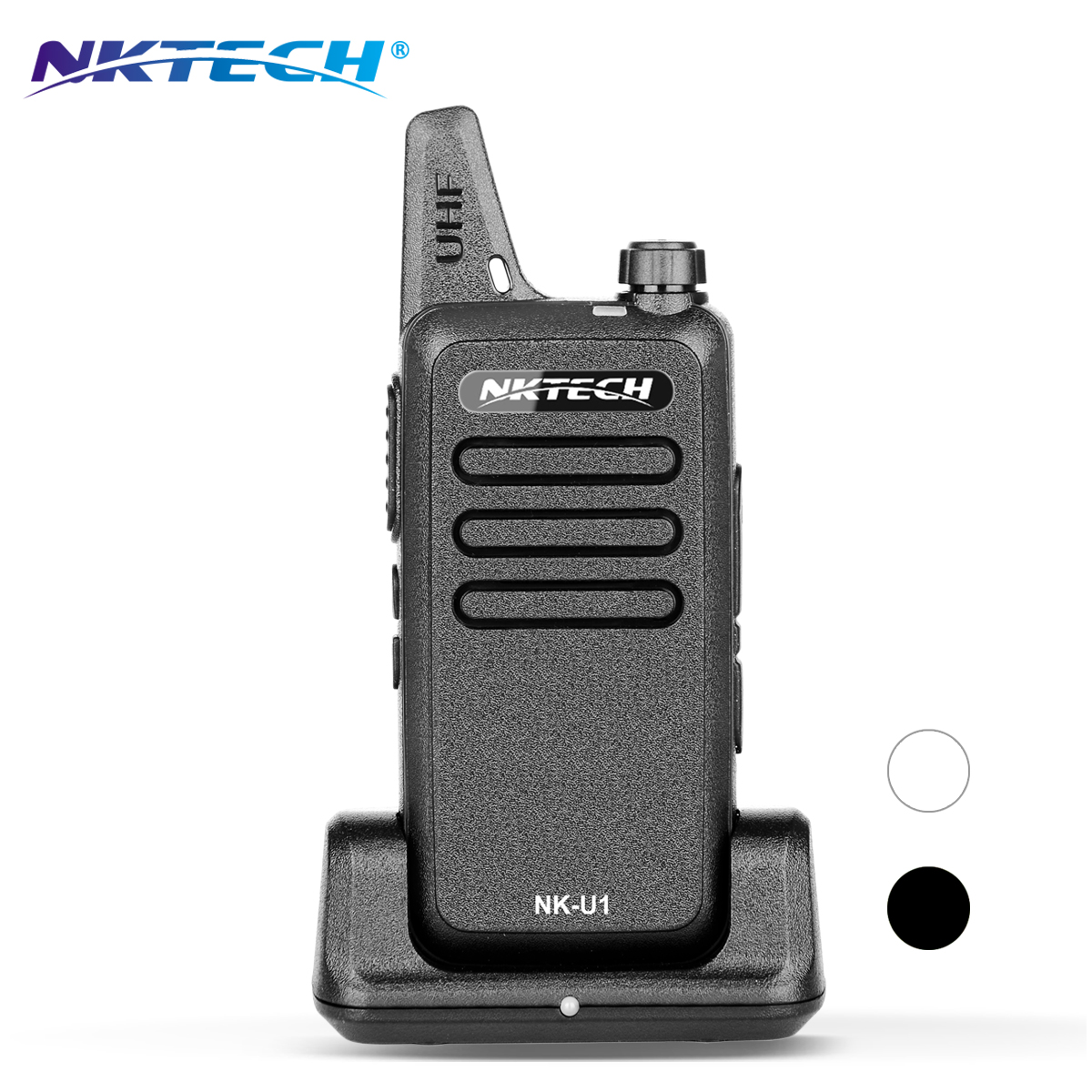 NKTECH Talkie Walkie à Deux Voies Radio NK-U1 Mini Ultra-mince UHF 400-470 MHz 5 W 16CH Jambon Émetteur-Récepteur avec 3.7 V 1500 mAh Batterie + Dock