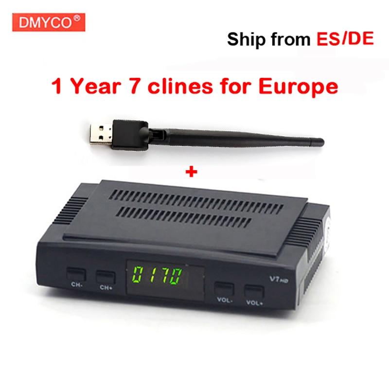 Digital tv satellite decoder V7 hd satellite receiver DVB-S2 HD full powervu with 1 year Europe clines server support USB WIFI