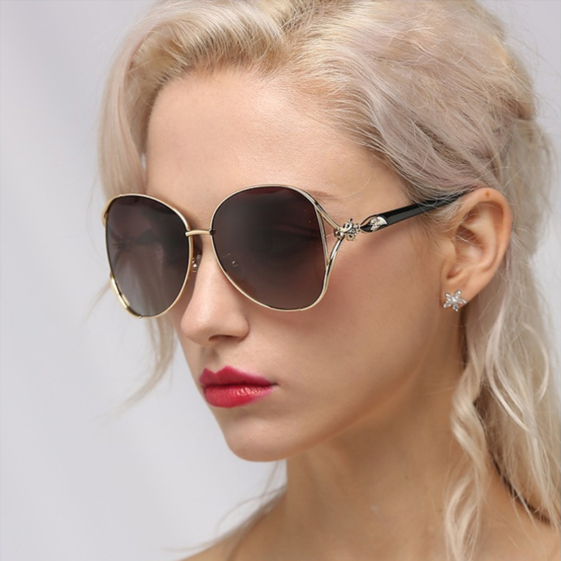 FEISHINI Black Big Frame Oval Metal Sunglasses Women Polarized Trendy Retro UV400 Fashion Driver SUN Glasses Female 2019