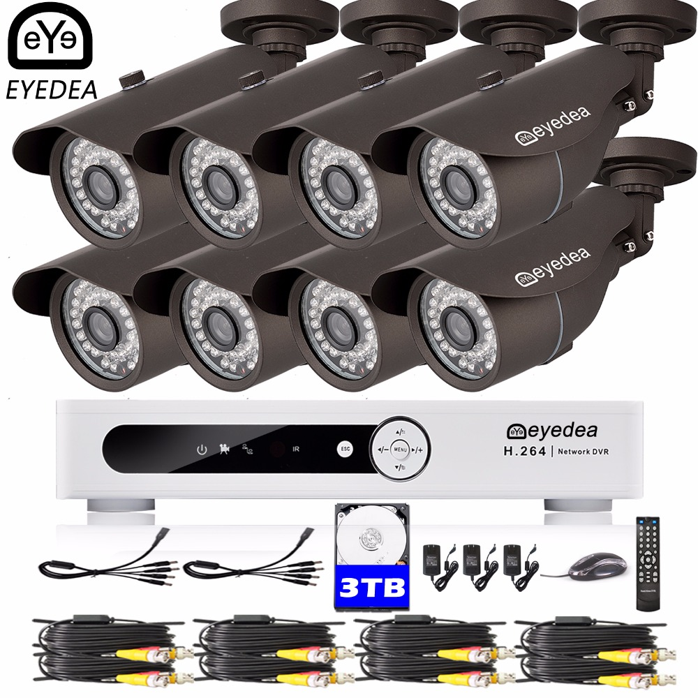 Eyedea 16 CH Phone View Video DVR Recorder 1080P 5500TVL Outdoor CMOS Night Vision Surveillance CCTV Security Camera System 3TB