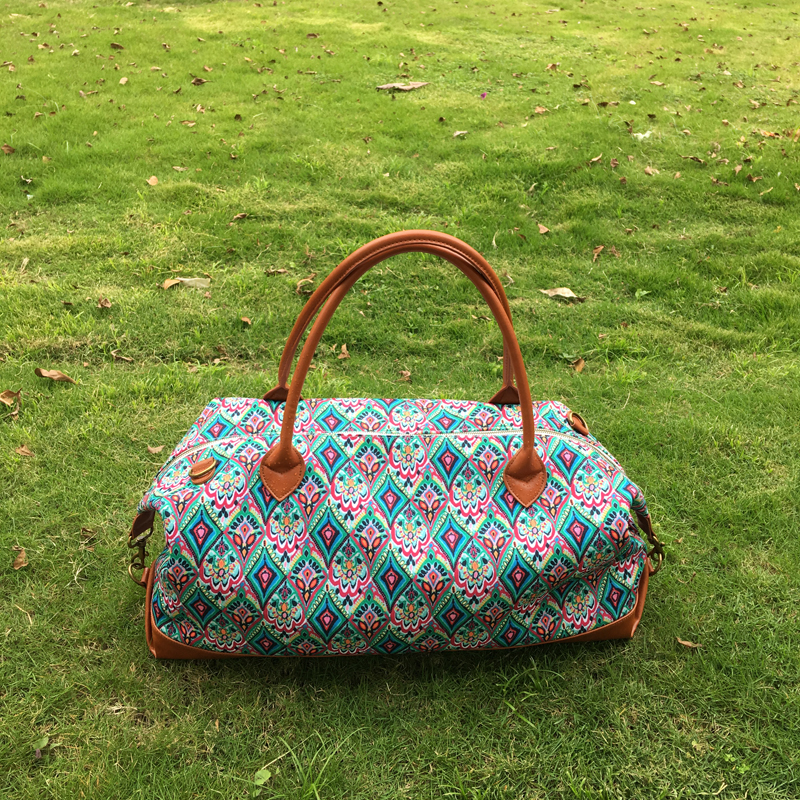 New Comer Rose Design Canvas Duffle Bag,Wholesale Crown And Flamingo Pattern Accessory Organizer Weekend Tote DOM-1010510