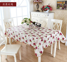 Oil proof beige waterproof PVC pad dining Anti scald Picnic oil cloth table cover rose floral tablecloth Vintage Multisize