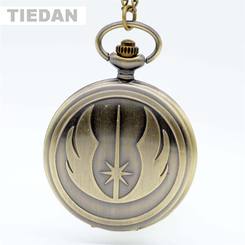 Hot Fashion STAR WARS Jedi antieke bronzen zakhorloges met ketting - Zakhorloge