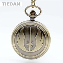 Hot Fashion STAR WARS Jedi antieke bronzen zakhorloges met ketting hanger ketting Retro zakhorloges voor Unisex Gifts bestellen