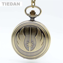Hot Mode STAR WARS Jedi Order Antique Bronze Pocket Watches dengan Rantai Pendant Kalung Retro Pocket Watches untuk Hadiah Unisex