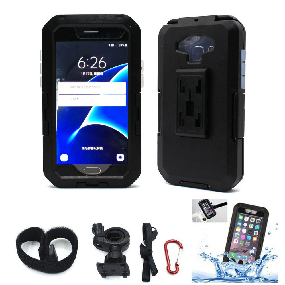 Waterproof Motorcycle <font><b>Phone</b></font> <font><b>Holder</b></font> For <font><b>Samsung</b></font> Galaxy <font><b>S9</b></font> S8 Plus S7 S6 edge S5 <font><b>Bike</b></font> <font><b>Holder</b></font> Armor Bag For Support Telephone Moto image