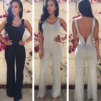 Rompers Womens Jumpsuit 2016 Summer New Arrival Fashion Casual Combinaison Femme Solid O Neck Backless Bodysuit