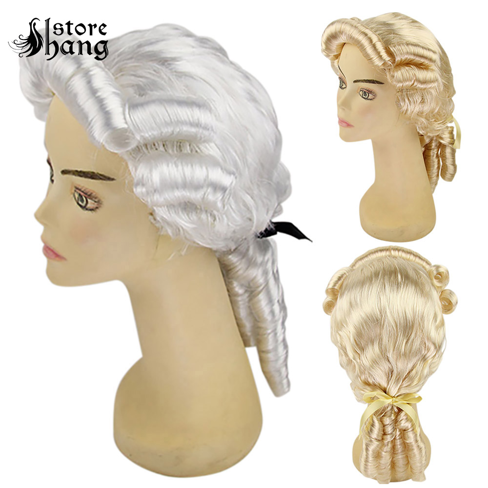 Men Colonial Wig 18th Century Gentlemen Court Costume Retro Curly Ponytail Rococo Halloween Fancy Dress Accessories