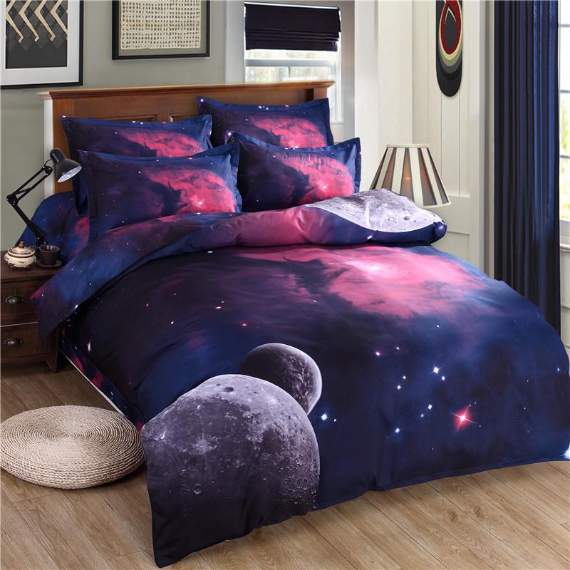 iDouillet 3D Nebala Outer Space Star Galaxy Bedding Set 2/3/4 pcs Duvet Cover Flat Sheet Pillowcase Queen Twin Size 24