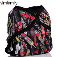 [simfamily]1PC Washable Cloth Diaper Cover Adjustable Double Gusset Reusable Waterproof 3Dprinted Design Nappy PUL Suit 3-15kgs