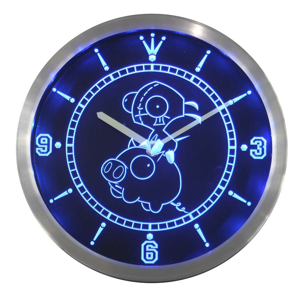 Nc0238 Invader Zim Piggy Neon Sign LED Wall Clock