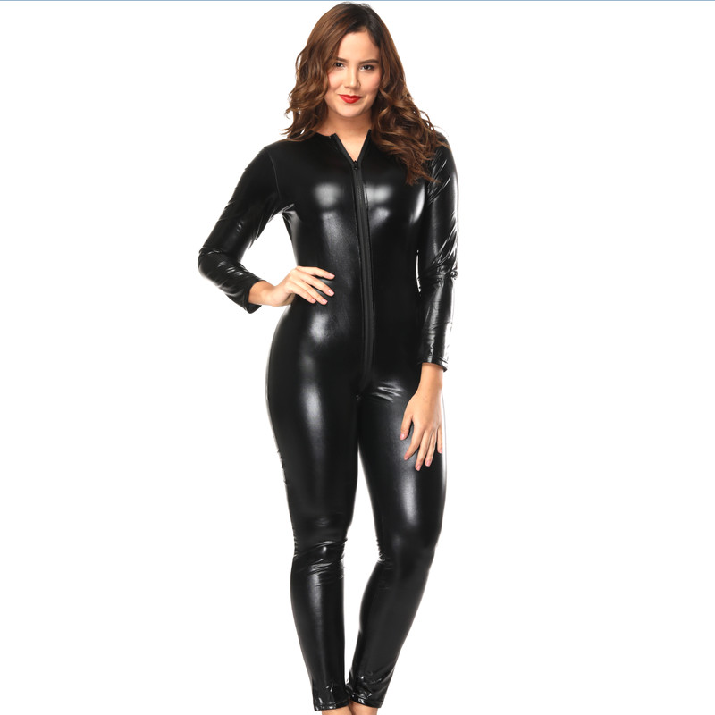 Sexy plus size lingerie leather PU teddies jumpsuit nuisette sexy catsuit zipper open crotch backless clubwear bodysuits women ...