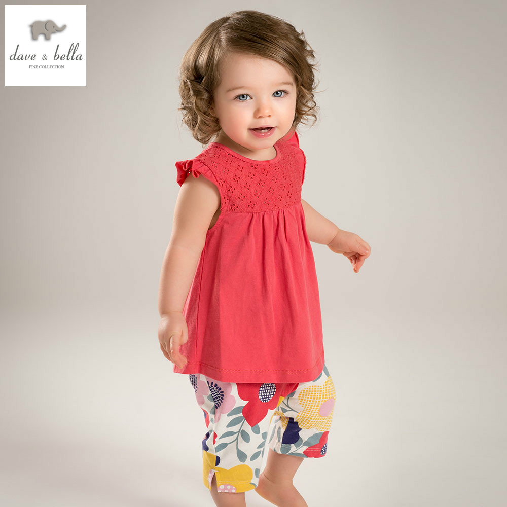 DB4336 dave bella summer baby girls clothing sets child lovely sets kids toddle cloth baby fancy clothes children chothing sets