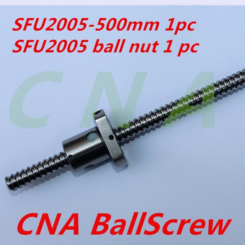 NEW 20mm SFU2005 Ball Screw Rolled ballscrew SFU2005 500mm with single 2005 flange ballnut for CNC