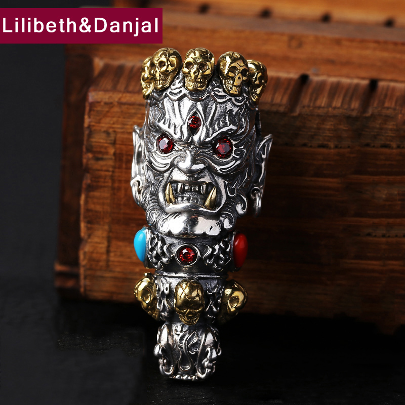 2017 Men Women Pendant 925 Sterling silver Jewelry Ethnic God of Wealth Buddha Skull Stone Necklace Pendant Gift Fine Jewelry P3 boeycjr yoga jewelry meditation wood necklace chain handmade jewelry ethnic pendant necklace for men and women gift 2018