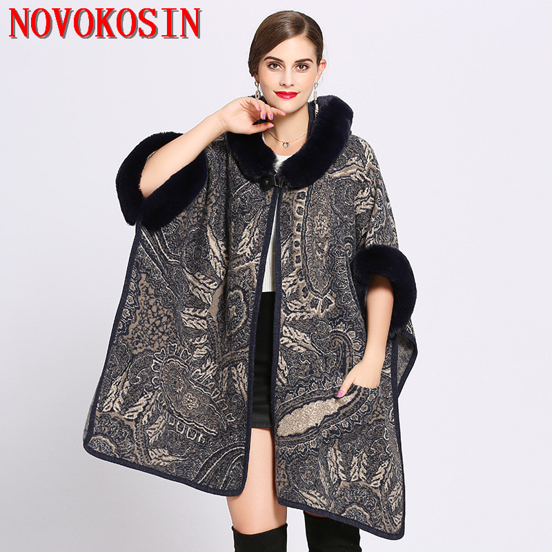 Women Loose Plus Size Faux Fur Hat Long Knitted Cardigan With Pocket Winter Warm Thick Batwing Sleeves Coat 2018 Printed Poncho