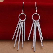 Beautifully five column  silver plated earrings hot selling fashion jewelry wild party free shipping gifts e026