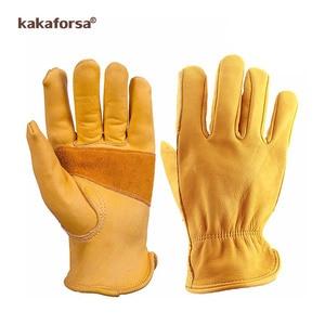 Image 2 - Kakaforsa moda genuíno couro amarelo luvas de inverno dos homens esportes ao ar livre à prova vento luvas quentes dedo cheio correndo luva