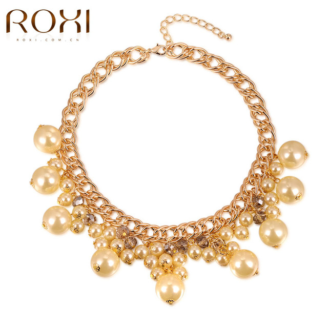 ROXI Necklace Pendant For Women Man-made Pearl Chocker Gold Plated Statement Fashion Jewelry For New Year Christmas Gift