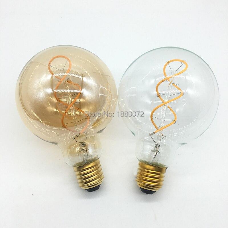 Купить с кэшбэком 4W Dimmable Vintage Edison Bulbs LED Flexible Soft Filament Bulb G95 LED Light Bulb 110V 220V