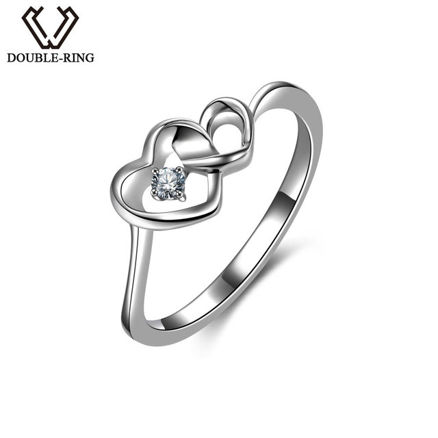 Double R Natural Diamond Rings Female 925 Sterling Silver Heart Engagement Real Jewelry