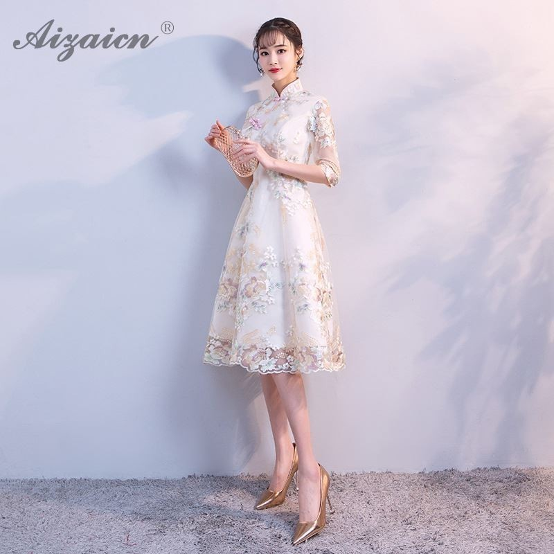 Fashion New Lace Long Cheongsam Modern China Party Gown Qi Pao Women Traditional Chinese Evening Dress Qipao Promotion Dresses