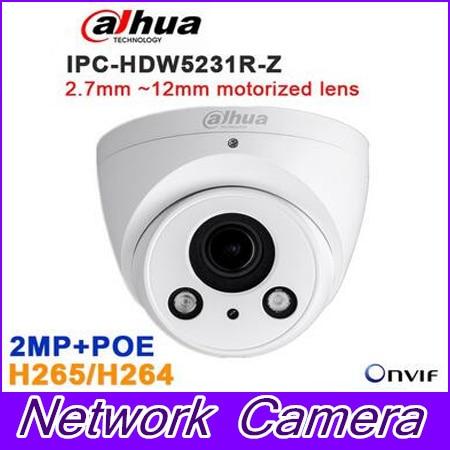 Original Dahua IPC-HDW5231R-Z 2MP WDR IR Eyeball Network Camera 2.7mm ~12mm motorized lens CCTV IP POE IR  ,free DHL shipping dahua 3mp motorized ip camera ipc hfw2320r zs 2 7mm 12mm new model replace for ipc hfw2300r z cctv camera free shipping