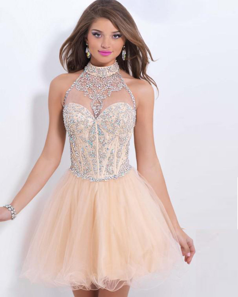 2017 Hot Sale New Sparkling Beading Crystal Bodice Sweet 16 Short Puffy Halter Pink Homecoming Dresses Vestido De Formatura