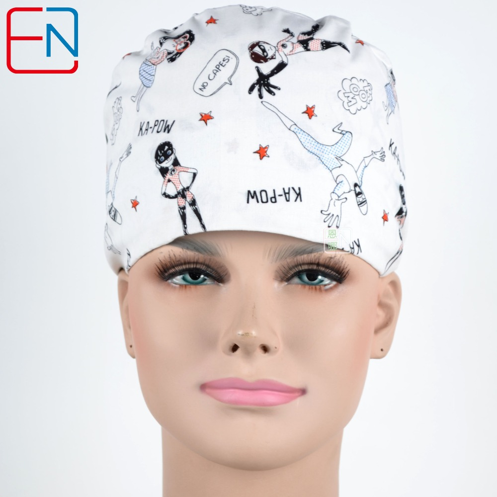 Audacious New Cotton Scrub Caps Mask Women Hospital Medical Hats Cartoon Print Tieback Adjustable Cotton Women Surgical Caps Masks Fixing Prices According To Quality Of Products