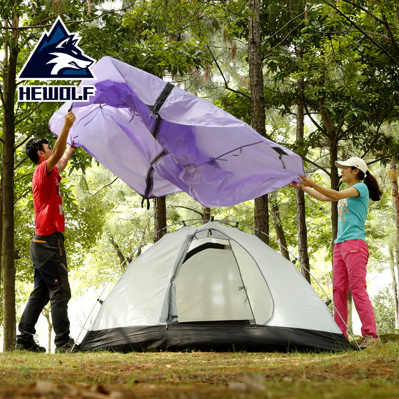 Hewolf 2 Person Outdoor Camping Tent Waterproof 5000MM 4 Seasons Hiking Beach Tent Double Layer Fishing Tourism Tents PU Coating outdoor waterproof folding ultralight camping tent 1 2 person double door fishing tourist tent beach tent hiking family tent
