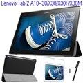 """Ultra-fino inteligente virar capa de couro pu para lenovo tab 2 a10-30 x30 x30m x30f 10.1 """"Tablet Case + Filme Protetor de Tela + Stylus Pen"""