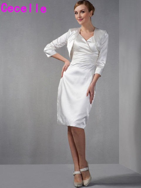 ba5b34925ca Ivory Sheath Simple Stretch Satin Short Knee Length Mother Of Bride Dresses  Suits With Jacket Two