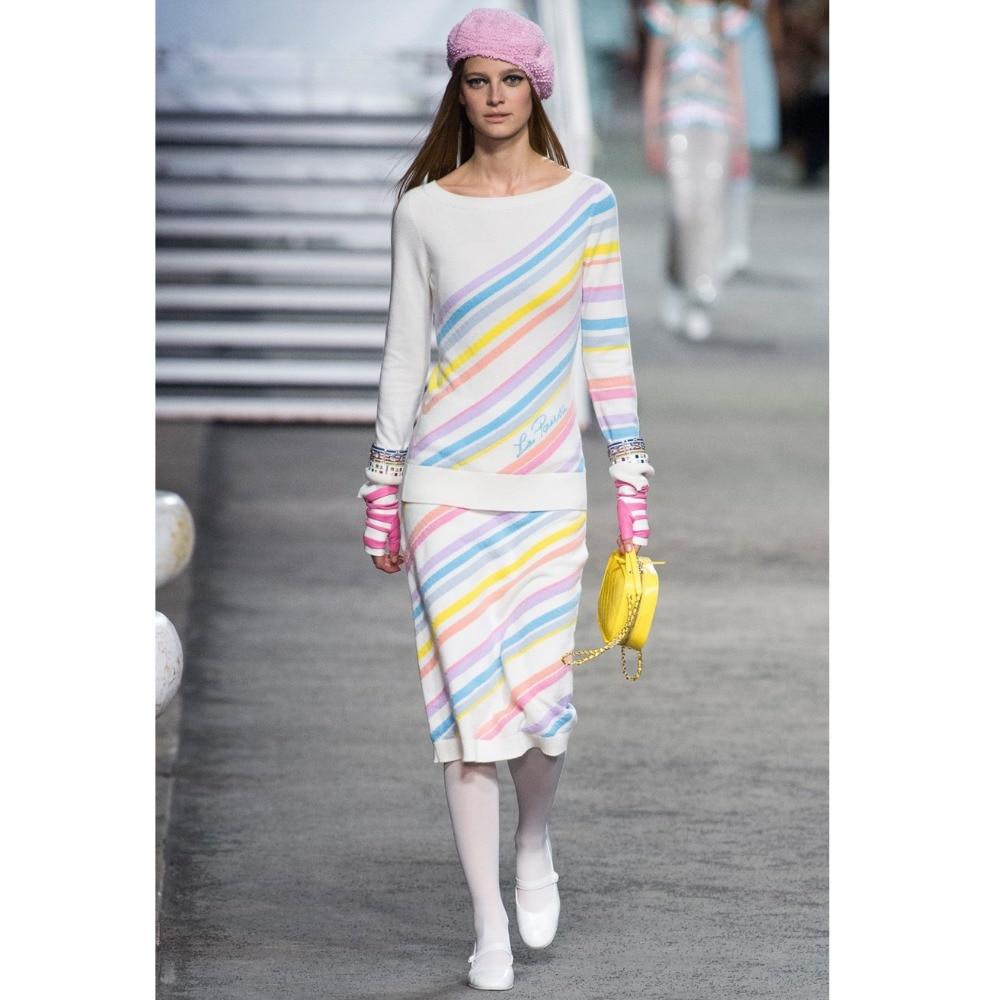 Комплект из двух предметов для женщин 2018 осень зима комплект из 2 предметов вязаный свитер Костюмы цвет полосатый наряды