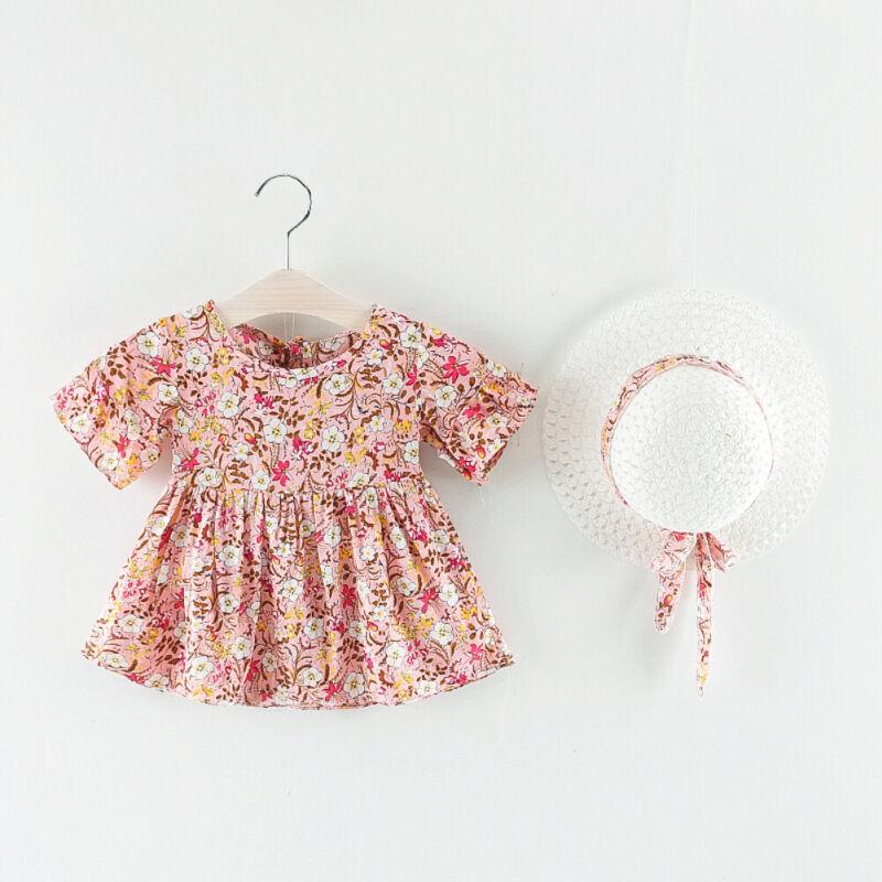 Sweet Newborn Baby Girl Dress Girl Fashion Floral Print Short-sleeved Princess Dress + Beach Hat