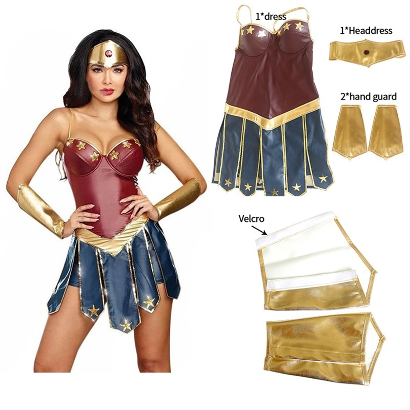 Superhero Wonder Woman Cosplay Costume Adult Justice League Costume Christmas Halloween Sexy Women Dress Up Dress Cosplay