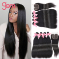 Brazilian Straight Virgin Hair With Closure Rosa Brazillian Virgin Hair 4 Bundles With Closure Straight Virgin Brazilian Hair 1B