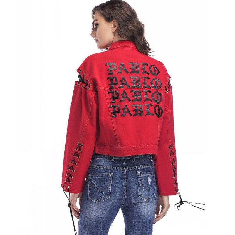 revendeur 69489 9dfe1 Décontracté rouge Denim veste pour femmes Patch Designs lettre imprimé  manteaux à manches longues Jean veste cazadora vaquera mujer manteau femme