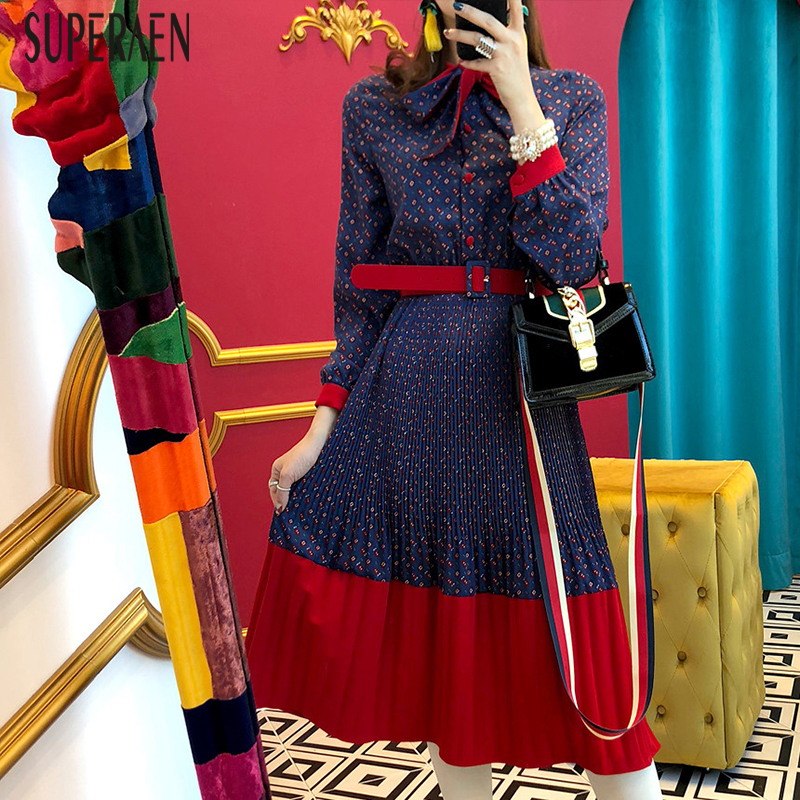SuperAen 2019 Spring New Korean Style Women Dress Fashion Casual Wild Bow Dress Female Long Sleeve