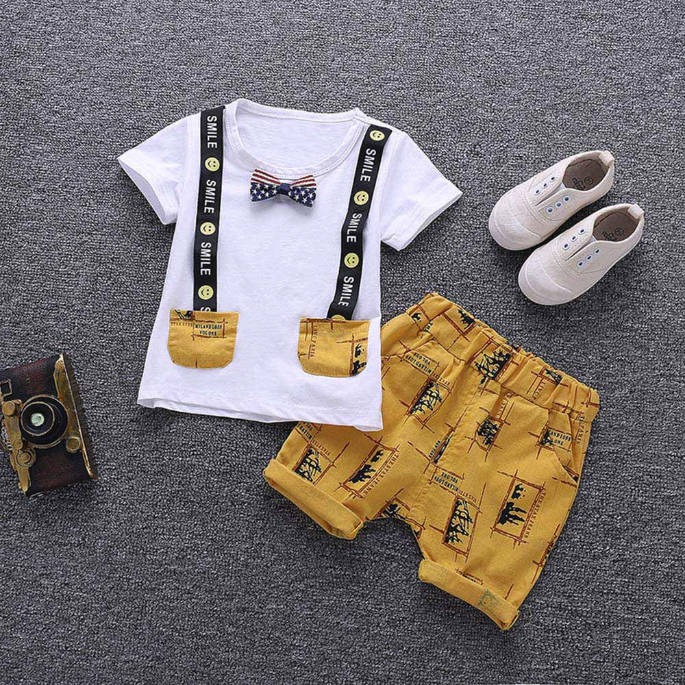 MUQGEW Boys Summer T-shirt and Pants Kids Cotton Clothing Set Boys Letter Print Tops Trousers Clothes For Children Outfits