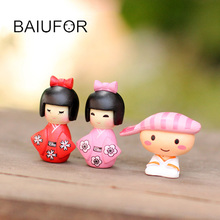 Kawaii Dolls Japanese Girl and Boy Fairy Garden Miniatures Terrarium Figurines Action Toy Figures Mini Landscape