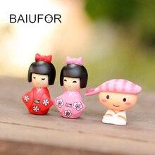 Kawaii Dolls Japanese Girl and Boy Fairy Garden Miniatures Terrarium Figurines Action & Toy Figures Mini Landscape Decoration