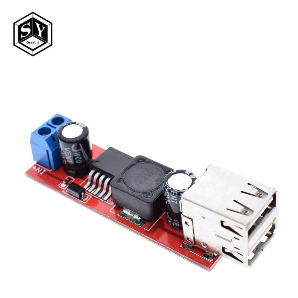 1PCS GREAT IT DC 6V-40V To 5V 3A Double USB Charge DC-DC Step-down Converter Module For Vehicle Charger LM2596 Dual USB