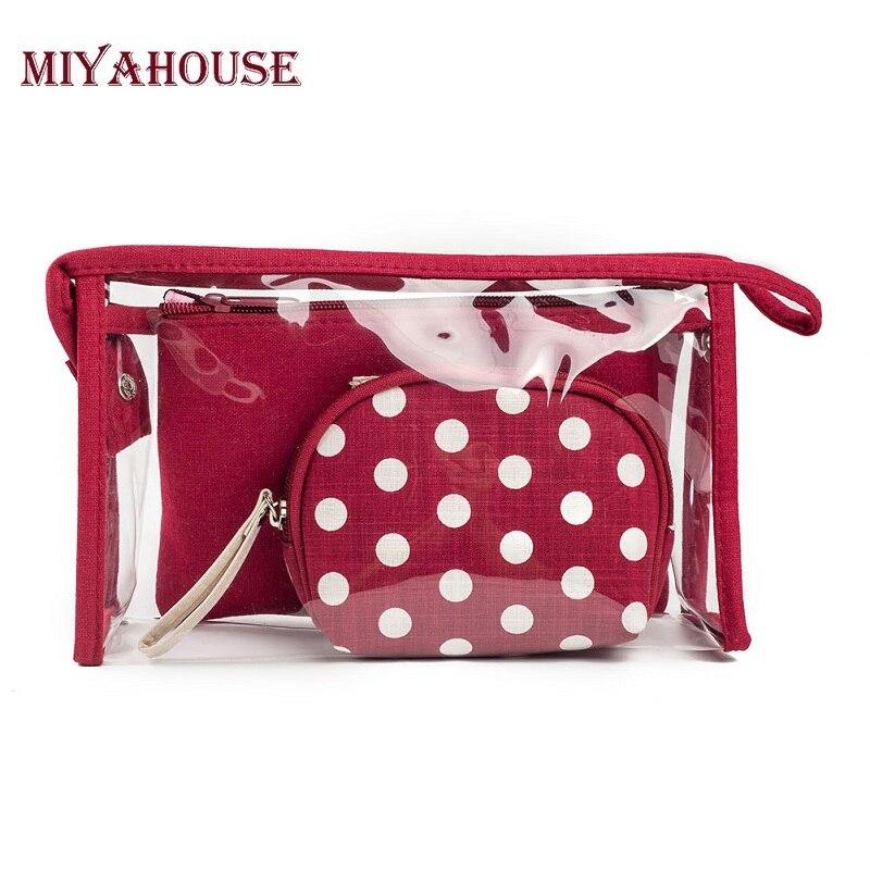 Miyahouse Fashion 3pcs set Waterproof Transparent Cosmetic Bags Women Portable Make Up Bag Dot Printed Travel