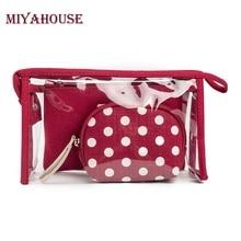 Miyahouse Fashion 3pcs/set Waterproof Transparent Cosmetic Bags Women Portable Make Up Bag Dot Printed Travel Toiletry Bag
