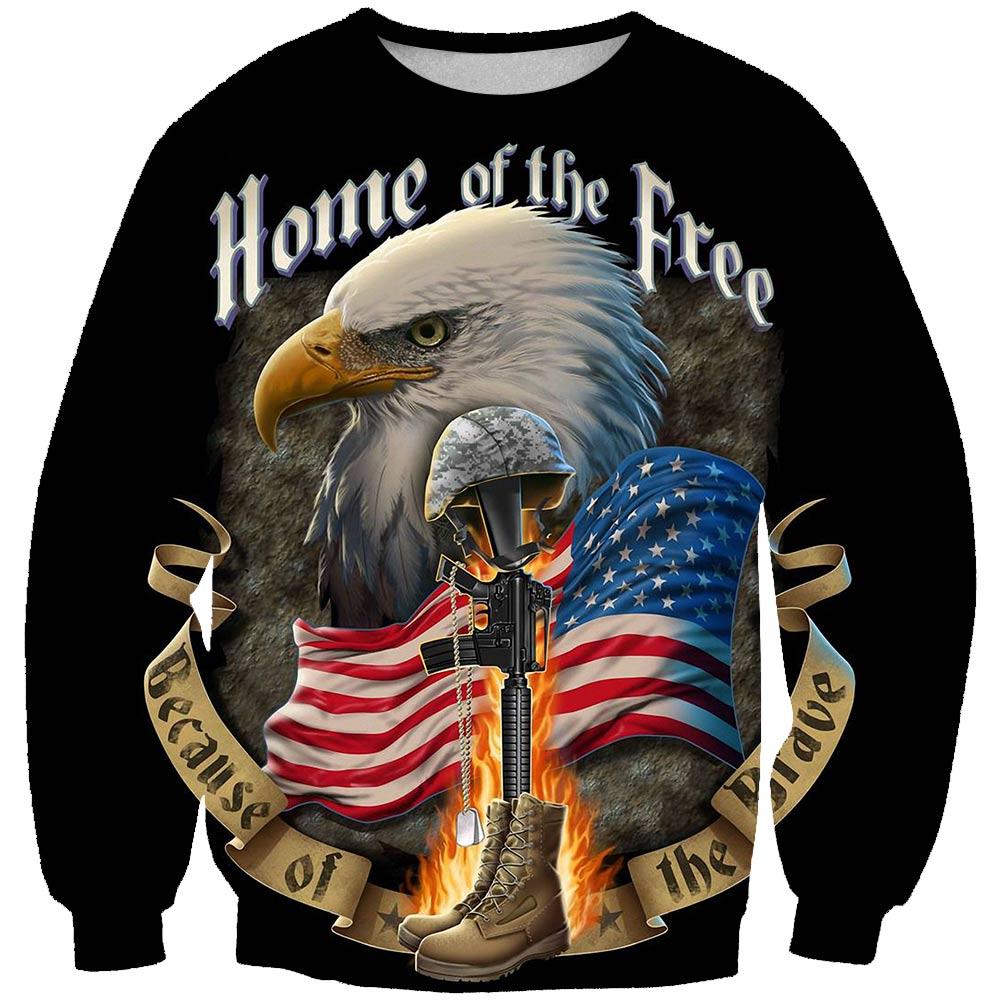 Retro Flag 3D Sweatshirt Men/Women Hoodies American Eagle Lettering Gun Fashion O-neck Print Sweatshirt Thin Popular Sportswear