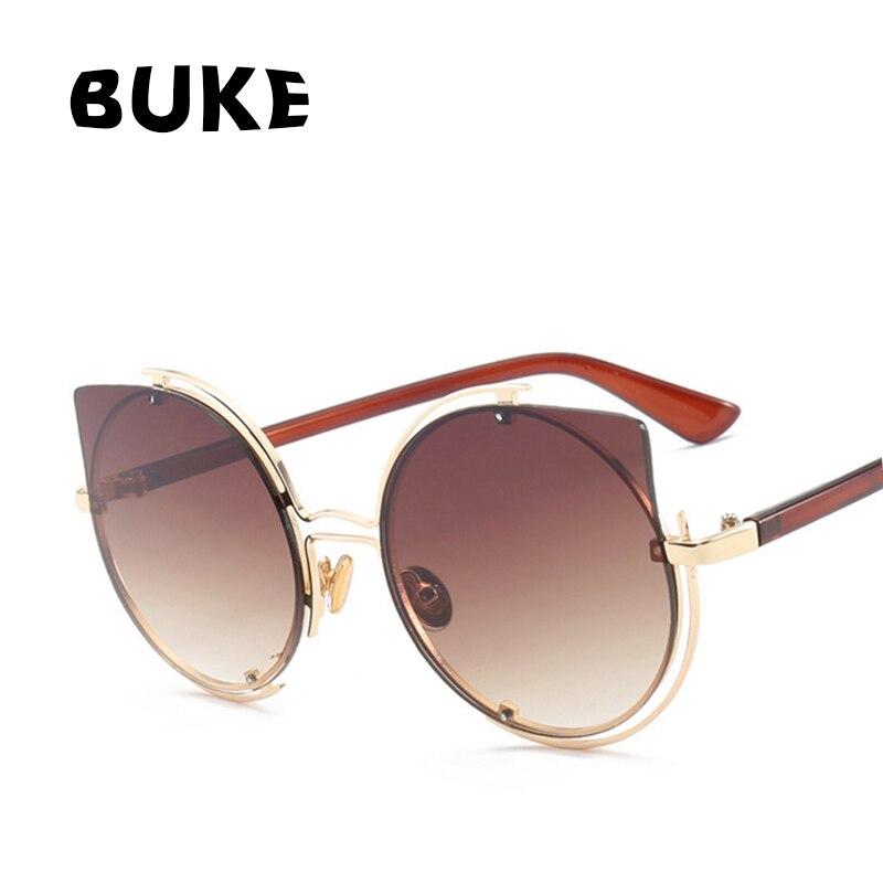 345dc9ec64c63 BUKE Olho de Gato óculos de Sol de Design Da Marca 2017 das Mulheres Da  Moda Óculos de Lente Gradiente óculos de Sol Proteção UV400 Oculos óculos  De SoL