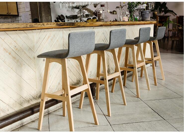 Backrest Solid Wood Bar Chair Bar Chair Bar Stool Bar Stool Simple Household High Chair Front Desk Chair.