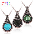 Silver Blue Turquoise Green Glass Stone Black Natural Stone Jewelry And Chain Necklace 2015 Greenstone Pendant Necklaces Colar